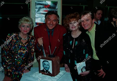 Bob Monkhouse, Lynne Perrie, Barbara Knox, Bobby Davro, with other guests at aftershow LWT party at South Bank studios.