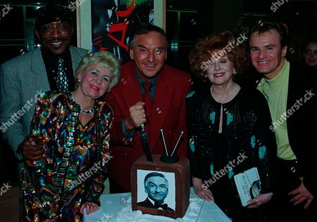 Bob Monkhouse, Derrick Errol Evans aka Mr Motivator, Lynne Perrie, Barbara Knox, Bobby Davro, with other guests at aftershow LWT party at South Bank studios.