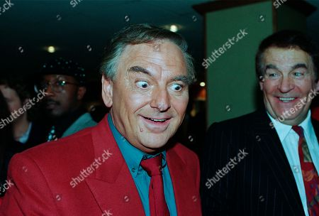 Bob Monkhouse, Ted Rogers, with other guests at aftershow LWT party at South Bank studios.