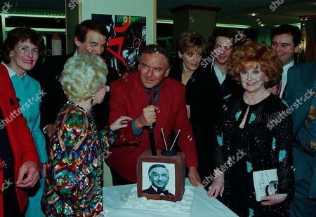 Bob Monkhouse, Jess Conrad, Ted Rogers, Lynne Perrie, Michael Ball, Barbara Knox, Phil Cool, with other guests at aftershow LWT party at South Bank studios.
