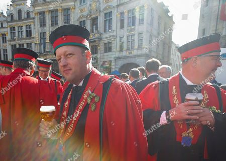 Members of the Belgian Brewers association in their ceremonial attires attend the opening of the 20th edition of the Belgian Beer Weekend on Brussels' Grand Place in downtown Brussels, Belgium, 07 September 2018. Belgian Prime Minister Charles Michel and Brazilian Carlos Brito (both unseen), CEO of the world's largest brewery company Anheuser-Busch InBev., were both enthroned as 'Chevaliers' during a ceremony. More that 400 kinds of beers are presented during this events.