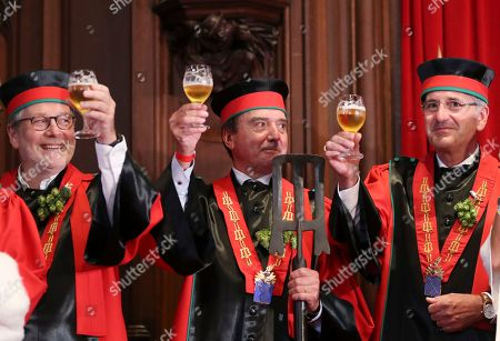 Members of the Belgian Brewers association in their ceremonial attires attend the opening of the 20th edition of the Belgian Beer Weekend in downtown Brussels, Belgium, 07 September 2018. Belgian Prime Minister Charles Michel and Brazilian Carlos Brito (both unseen), CEO of the world's largest brewery company Anheuser-Busch InBev., were both enthroned as 'Chevaliers' during a ceremony. More that 400 kinds of beers are presented during this events.