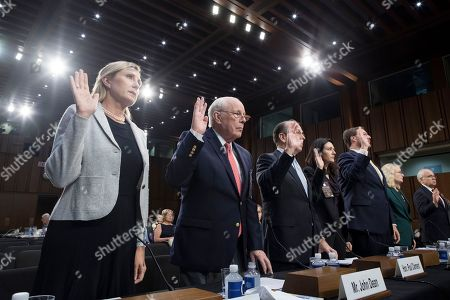 Former counsel to US President Richard Nixon John Dean (2-L) is sworn-in to testify beside Washington DC real estate agent Monica Mastal (L) and others on a witness panel of the Senate Judiciary Committee's confirmation hearing on circuit judge Brett Kavanaugh's nomination to be an Associate Justice of the Supreme Court of the United States, on Capitol Hill in Washington, DC, USA, 07 September 2018. President Trump nominated Kavanaugh to fill the seat of retiring justice Anthony Kennedy. If confirmed, Kavanaugh would give conservatives a five-member majority in the high court.