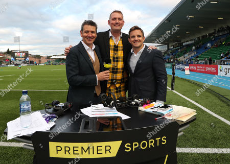 Stock Photo of Glasgow Warriors vs Munster. Premier Sports' Dougie Vipond, Doddie Weir and Rory Lawson ahead of the game