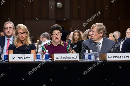 Elizabeth Weintraub, Louisa Garry, Theodore Olson. Elizabeth Weintraub, center, a disability advocate, is flanked by Louisa Garry, left, and Theodore Olson, as they testify on a panel of experts and character witnesses before the Senate Judiciary Committee about President Donald Trump's Supreme Court nominee, Brett Kavanaugh, on the final day of the confirmation hearing, on Capitol Hill in Washington