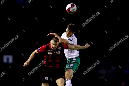 Longford Town vs Cork City. Cork's Alan Bennett with Jamie Doyle of Longford