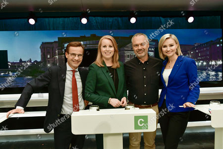 The party leaders of the centre-right liberal conservative political alliance Alliansen, (L-R) Ulf Kristersson of the Moderate Party, Annie Loof of the Centre Party, Jan Bjorklund of the Liberal Party and Ebba Busch Thor of the Christian Democrats attend a party leader debate in SVT, Swedish national public TV broadcaster, in Stockholm, Sweden, 07 September 2018. Sweden's general elections will be held on 09 September.