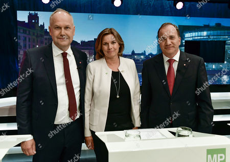 (L-R) Jonas Sjostedt of the Left Party,  Isabella Lovin of the Green Party and Stefan Lofven of the Social Democratic Party attend a party leader debate in SVT, Swedish national public TV broadcaster, in Stockholm, Sweden, 07 September 2018. Sweden's general elections will be held on 09 September.