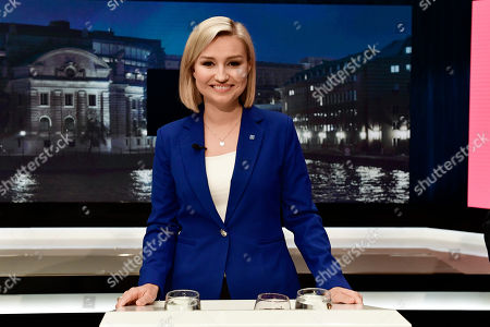 Ebba Busch Thor of the Christian Democratic Party attends a party leader debate in SVT, Swedish national public TV broadcaster, in Stockholm,  Sweden, 07 September 2018. Sweden's general elections will be held on 09 September.