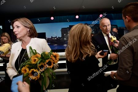 Isabella Lovin of the Green Party and Jonas Sjostedt of the Left Party after a party leader debate in SVT, Swedish national public TV broadcaster, in Stockholm, Sweden, 07 September 2018. Sweden's general elections will be held on 09 September.