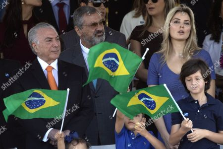 The President of Brazil Michel Temer (L), and the First Lady Marcela Temer (R), participate in the celebration of the military parade on the occasion of the Brazilian Independence Day, in the city of Brasilia, Brazil, 07 September 2018.