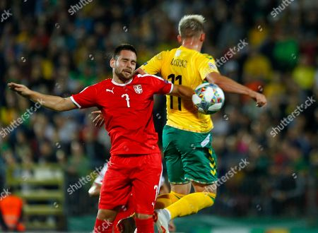 Arvydas Novikovas (R) of Lithuania and Andrija Zivkovic of Serbia in action during UEFA Nations League match Lithuania vs Serbia in Vilnius, Lithuania, 07 September 2018.