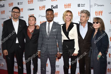 """Sam Esmail, Jeremy Allen White, Stephan James, Julia Roberts, Dermot Mulroney, Sissy Spacek. Director Sam Esmail, from left, Jeremy Allen White, Stephan James, Julia Roberts, Dermot Mulroney and Sissy Spacek attend a premiere for """"Homecoming"""" on day 2 of the Toronto International Film Festival at the Ryerson Theatre, in Toronto"""