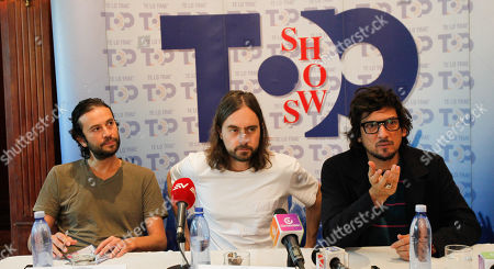 Stock Picture of The members of Mexican alternative rock band Zoe, Singer Leon Larregui (R), bass Angel Mosqueda (L) and drums Rodrigo Guardiola (C) speak during a press conference before their concert in Quito, Ecuador, 07 September 2018.
