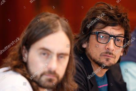 The members of Mexican alternative rock band Zoe, Singer Leon Larregui (R), bass Angel Mosqueda (out of frame) and drums Rodrigo Guardiola (L) speak during a press conference before their concert in Quito, Ecuador, 07 September 2018.