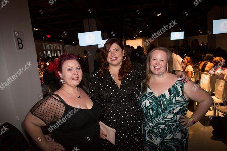 Jen Ponton, Joy Nash, Lillian Bustle. Lillian Bustle, Joy Nash and Jen Ponton pose at the presentation of the Loft spring 2019 collection during Fashion Week, in New York