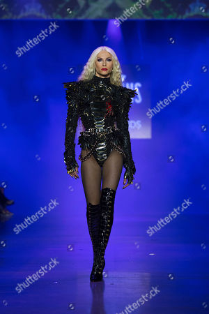 Designer Phillipe Blond models during the presentation of the Blonds spring 2019 collection with a Disney villains theme during Fashion Week, in New York