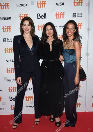 """Tess Haubrich, Monica Bellucci, Caroline Ford. Actors Tess Haubrich, left, Monica Bellucci and Caroline Ford attend the premiere for """"Nekrotronic"""" on day 2 of the Toronto International Film Festival, at the Ryerson Theatre, in Toronto"""