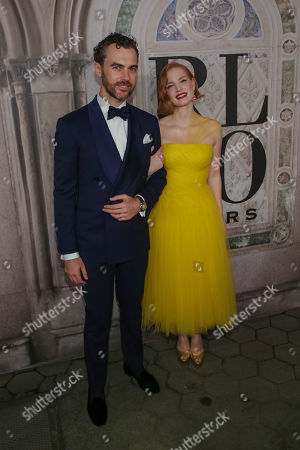 Gian Luca Passi de Preposulo, Jessica Chastain. Gian Luca Passi de Preposulo, left, and Jessica Chastain attend the Ralph Lauren 50th Anniversary Event held at Bethesda Terrace in Central Park during New York Fashion Week, in New York