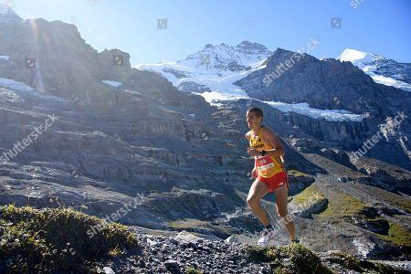 Britian's Andrew Davies in action during the 2018 Jungfrau Marathon at the Kleine Scheidegg mountain pass at Lauterbrunnen, Switzerland, 08 September 2018.