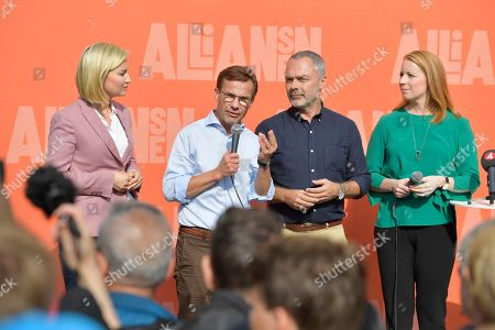 The party leaders of the centre-right liberal conservative political alliance 'Alliansen' with (L-R) Ebba Busch Thor of the Christian Democrats, Ulf Kristersson of the Moderate Party, Jan Bjorklund of the Liberal Party and Annie Loof of the Centre Party speak at a joint campaign meeting in Stockholm, Sweden, 08 September 2018. Sweden's general elections will be held on 09 September.