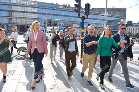 The party leaders of the centre-right liberal conservative political alliance 'Alliansen' with (L-R) Ebba Busch Thor of the Christian Democrats, Ulf Kristersson of the Moderate Party, Jan Bjorklund of the Liberal Party and Annie Loof of the Centre Party arrive for a  at a joint campaign meeting in Stockholm, Sweden, 08 September 2018. Others are not identified. Sweden's general elections will be held on 09 September.