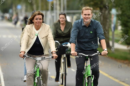 Isabella Lovin and Gustav Fridolin, Spokespersons for the Green Party, ride bikes to join the Peoples Climate March in Stockholm,  Sweden, 08 September 2018. Sweden's general elections will be held on 09 September.