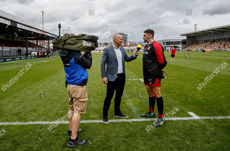 Stock Picture of Dragons vs Southern Kings. Premier Sports' Tom Shanklin interviews Cory Hill of Dragons before the game