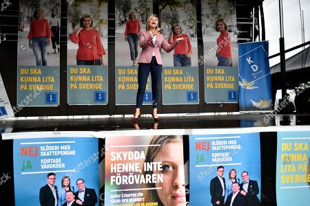 Ebba Busch Thor, leader of the Swedish Christian Democrats, speaks during an election campaign rally in Gothenburg, Sweden, 08 September 2018. Sweden's general elections will be held on 09 September.