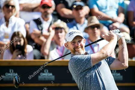 Stephen Gallacher of Scotland watches his shot during the third round of the European Masters golf tournament in Crans-Montana, Switzerland, 08 September 2018.