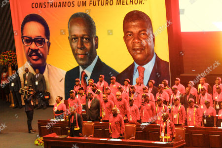 The outgoing president of the Popular Movement for the Liberation of Angola (MPLA) Jose Eduardo dos Santos (C) accompanied by the new President Joao Lourenco (L) during the 6th MPLA Extraordinary Congress held in the Belas Complex, south of Luanda, Angola, 08 September 2018. Former President of Angola, Jose Eduardo dos Santos, ended his career in active politics on the same day, handing over power to the Popular Movement for the Liberation of Angola (MPLA) to current Angolan head of state, Joao Lourenco.