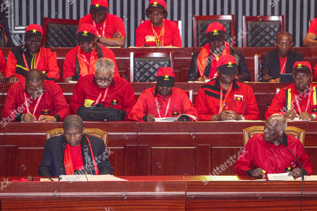 The outgoing president of the Popular Movement for the Liberation of Angola (MPLA) Jose Eduardo dos Santos (First row R) accompanied by the new President Joao Lourenco (First row L) during the 6th MPLA Extraordinary Congress held in the Belas Complex, south of Luanda, Angola, 08 September 2018. Former President of Angola, Jose Eduardo dos Santos, ended his career in active politics on the same day, handing over power to the Popular Movement for the Liberation of Angola (MPLA) to current Angolan head of state, Joao Lourenco.