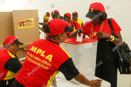 A delegate of the Popular Movement for the Liberation of Angola (MPLA) casts her vote during the 6th MPLA Extraordinary Congress held in the Belas Complex, south of Luanda, Angola, 08 September 2018. Former President of Angola, Jose Eduardo dos Santos, ended his career in active politics on the same day, handing over power to the Popular Movement for the Liberation of Angola (MPLA) to current Angolan head of state, Joao Lourenco.