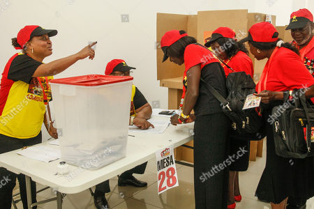 Delegates of the Popular Movement for the Liberation of Angola (MPLA) cast their vote during the 6th MPLA Extraordinary Congress held in the Belas Complex, south of Luanda, Angola, 08 September 2018. Former President of Angola, Jose Eduardo dos Santos, ended his career in active politics on the same day, handing over power to the Popular Movement for the Liberation of Angola (MPLA) to current Angolan head of state, Joao Lourenco.