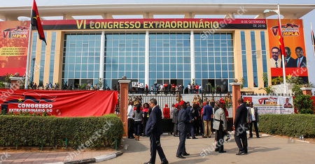 Delegates of the Popular Movement for the Liberation of Angola (MPLA) at the entrance for 6th MPLA Extraordinary Congress held in the Belas Complex, south of Luanda, Angola, 08 September 2018. Former President of Angola, Jose Eduardo dos Santos, ended his career in active politics on the same day, handing over power to the Popular Movement for the Liberation of Angola (MPLA) to current Angolan head of state, Joao Lourenco.