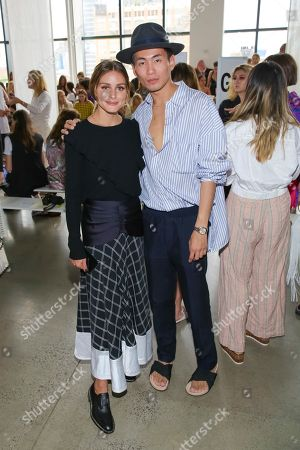 Olivia Palermo, Han Chong. Olivia Palermo, left, and Founder and Designer of Self-Portrait Han Chong attend the Self Portrait Runway Show held at Spring Studios during New York Fashion Week, in New York