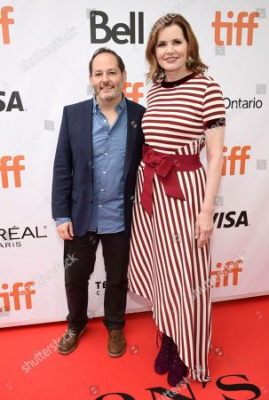 "Tom Donahue, Geena Davis. Tom Donahue, left, and Geena Davis attend the premiere for ""This Changes Everything"" on day 3 of the Toronto International Film Festival at Roy Thomson Hall, in Toronto"