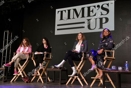Stock Photo of Stacy L. Smith, Keri Putnam, Amanda Brugel, Mia Kirshner. From left, Dr. Stacy L. Smith, founder and director of the USC Annenberg Inclusion Initiative, actress Mia Kirshner, Sundance Institute executive director Keri Putnam and actress Amanda Brugel look on from the stage during the Share Her Journey Rally for Women in Film during the Toronto Film Festival,, in Toronto