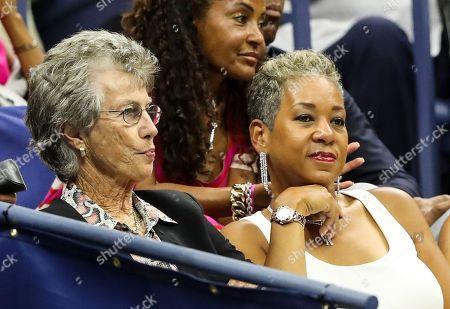 Virginia Wade and USTA President Katrina Adams look on