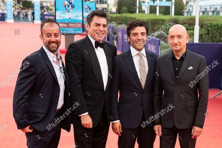 Stock Picture of (L-R) US producer Jason Spire, US director Chris Weitz, Guatemalan-born US actor Oscar Isaac and British actor Sir Ben Kingsley arrive on the red carpet prior to the premiere of 'Operation Finale' during the 44th Deauville American Film Festival, in Deauville, France, 08 September 2018. The festival runs from 31 August to 11 September.