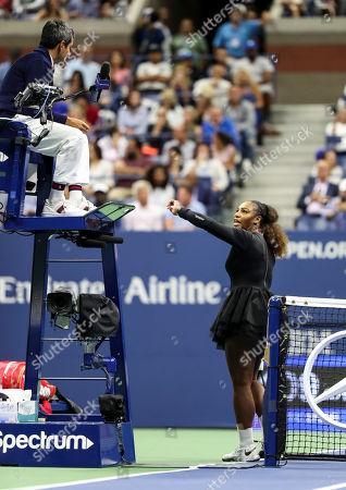 Serena Williams reacts towards umpire Carlos Ramos during the women's final