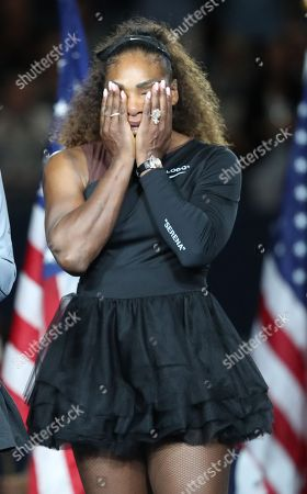 An emotional Serena Williams, following her defeat in the Women's Singles final during the presentation ceremony