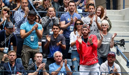 Jamie Murray's players box with his mother, Judy Murray on her birthday (second row right) and Martina Hingis (third row centre earring tray hoodie)