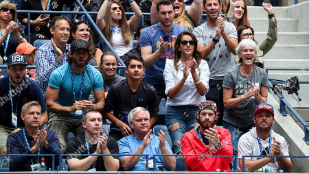 Jamie Murray's players box with his mother, Judy Murray on her birthday (second row right) and Martina Hingis (third row centre wearing a grey hoodie).