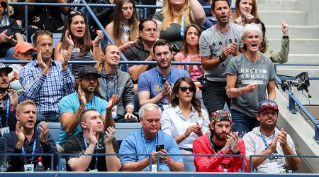 Jamie Murray's players box with his mother, Judy Murray on her birthday (second row right) and Martina Hingis (third row centre wearing a grey hoodie)