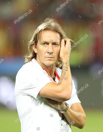 Stock Picture of Assistant  egypt coach  Michel Salgado  during the African Nations Cup qualifiers game between Egypt  and  Nigerat Borg El Arab Stadium in Alexandria, Egypt on 08 September  2018.