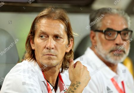 Stock Photo of Egypt's assistant coach Michel Salgado reacts during the African Nations Cup qualifier game between Egypt and Niger at Borg El Arab Stadium in Alexandria, Egypt, 08 September 2018.