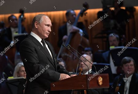 Editorial photo of Vladimir Putin attends opening ceremony of new Moscow Concert Hall, Russian Federation - 08 Sep 2018