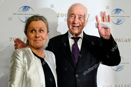 Stock Photo of German actor Armin Mueller-Stahl (R) and his wife Gabriele Scholz arrive on the red carpet of a gala on the occasion of the 100th birthday of German film producer Artur Brauner in Berlin, Germany, 08 September 2018. Artur 'Atze' Brauner celebrated his 100th birthday on 01 August 2018 in the company of his family. With the gala, the film world wants to celebrate the producer officially in the Zoo Palast cinema. Around 700 invited guests from all over Europe are expected, including many companions and prominent actors.
