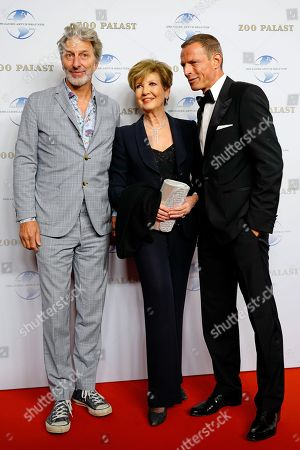 (L-R) German actor Rufus Beck, German TV presenter Carolin Reiber and Michael Zechbauer arrive on the red carpet of a gala on the occasion of the 100th birthday of German film producer Artur Brauner in Berlin, Germany, 08 September 2018. Artur 'Atze' Brauner celebrated his 100th birthday on 01 August 2018 in the company of his family. With the gala, the film world wants to celebrate the producer officially in the Zoo Palast cinema. Around 700 invited guests from all over Europe are expected, including many companions and prominent actors.
